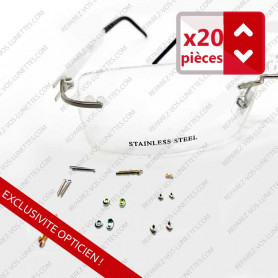 Assortment of 22 parts: screws, nuts and caps for rimless eyeglasses