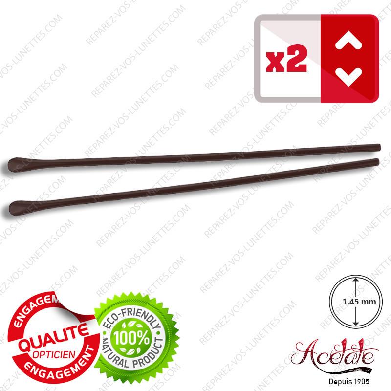 2 Embouts longs fin marrons pour Branches de lunettes