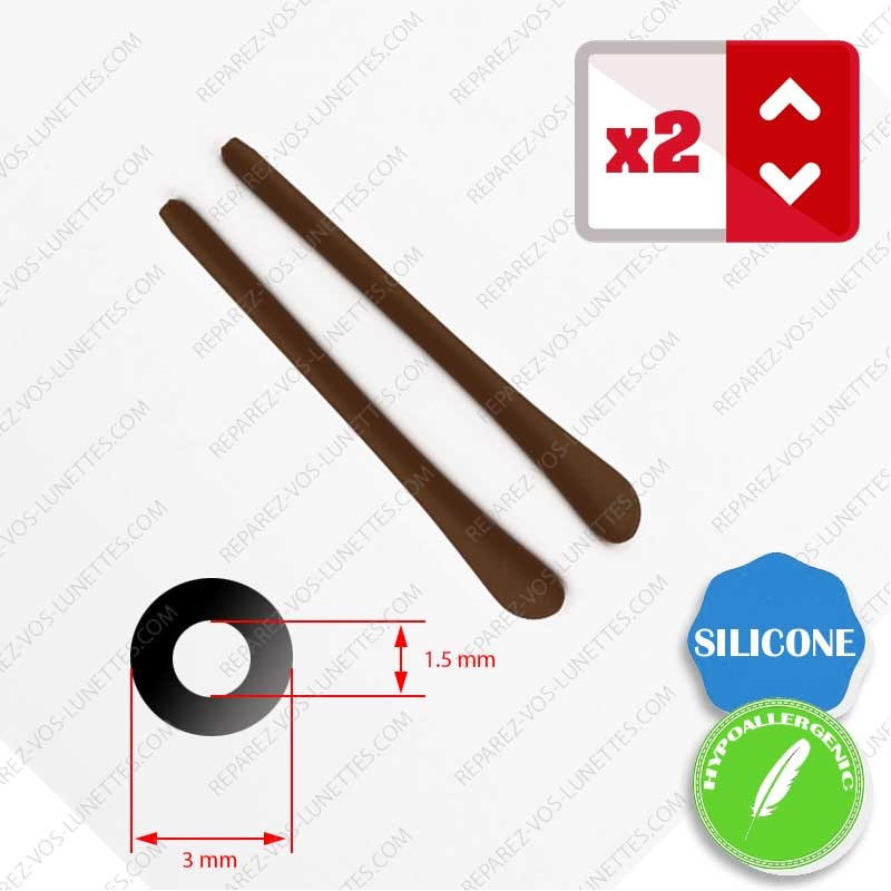 2 marrons silicone tips for glasses