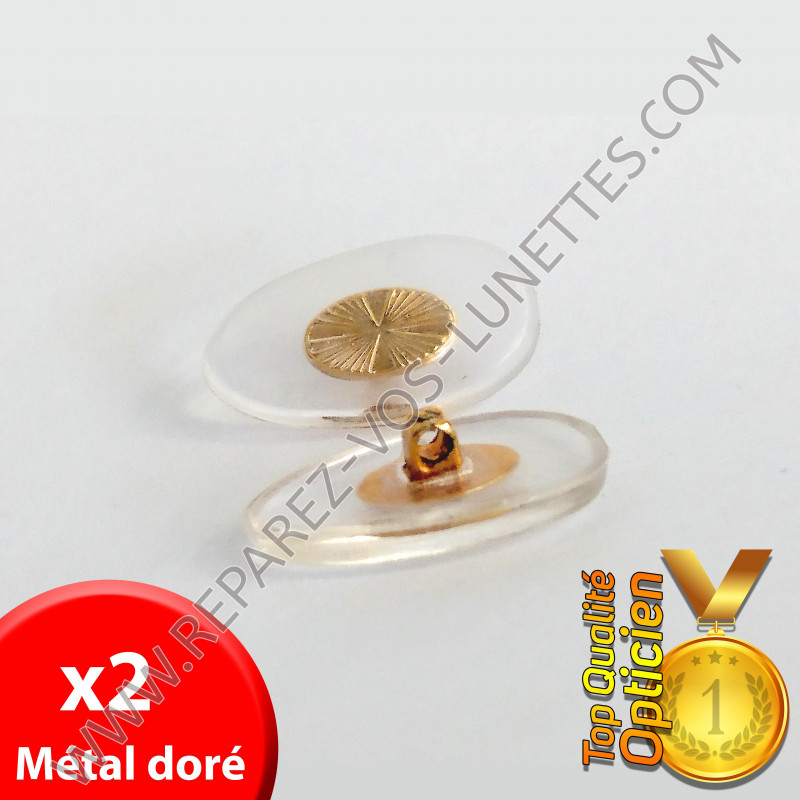 Paire de plaquettes métal doré à visser sur lunettes