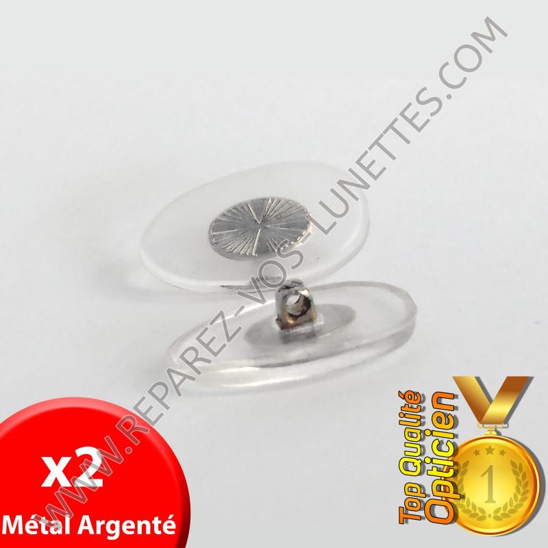 Paire de plaquettes métal argenté à visser sur lunettes