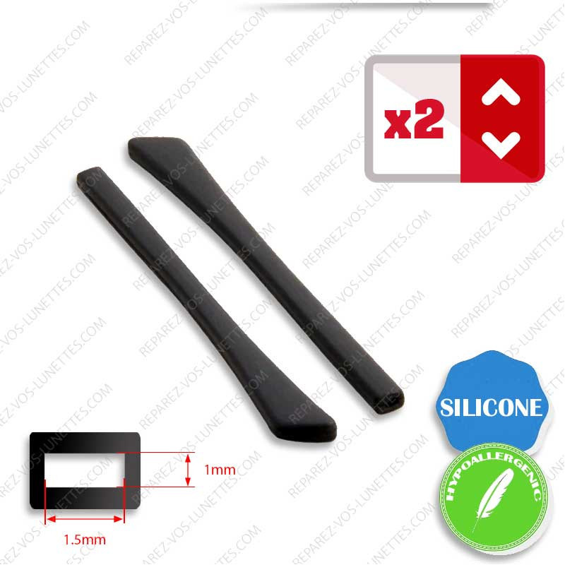 2 Embouts Silicone plats noirs ECO+