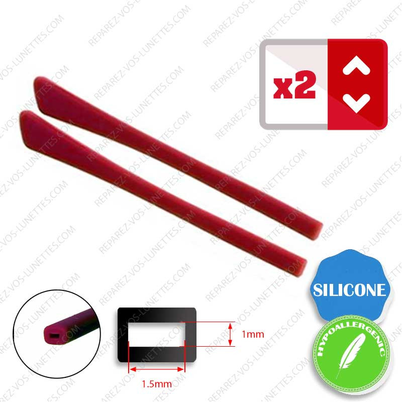 2 Embouts Silicone plats rouges