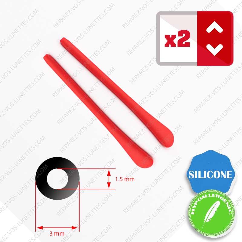 2 Embouts Silicone rouge pour Branches de lunettes