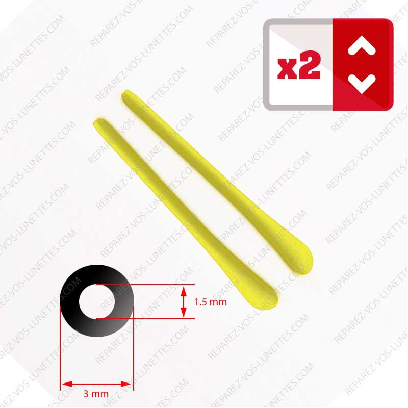 2 Embouts jaune pour Branches de lunettes