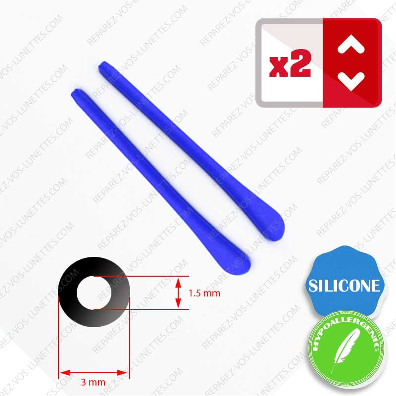 2 Embouts Silicone bleu pour Branches de lunettes