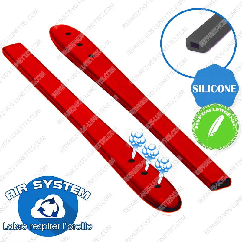 2 Embouts Silicone rouge Branches plates