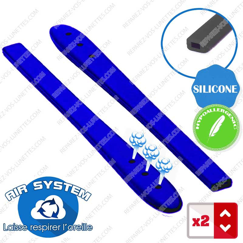 2 Embouts Silicone Bleus Branches plates